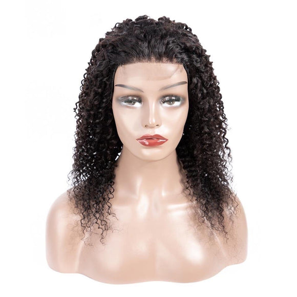 4*4 Kinky Curly Wig Brazilian Lace Closure Human Hair Pre Plucked Non-remy Hair Lace Wig