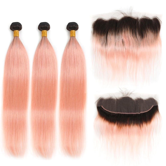 1B Pink Ombre Straight Hair Weave 3 Bundles With Lace Frontal