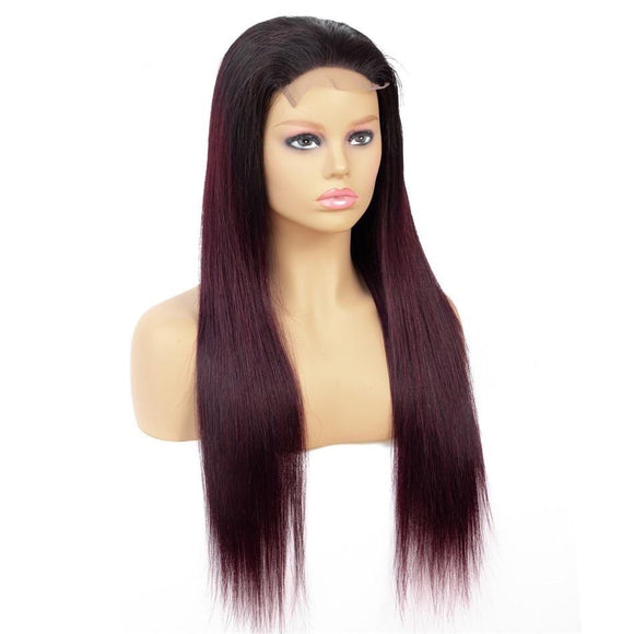 T1B99J 27 4x4 Lace Front Human Hair Wigs Brazilian Straight Lace Front Wig 150% Density