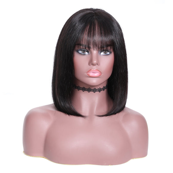 Straight Bob Human Hair Wig With Bang 13*4 Lace Front Wig 150% Density