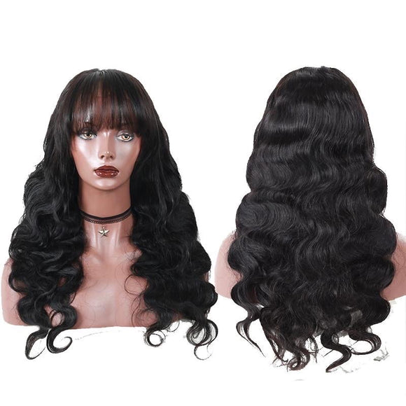 Pre-Plucked Brazilian Body Wave 360 Lace Frontal Wig With Bangs With Baby Hair
