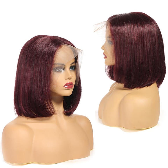 Brazilian Straight 13x4 Short Bob Wig Red 99J Burgundy Human Hair Lace Wig Pre-Plucked Bleached Knot
