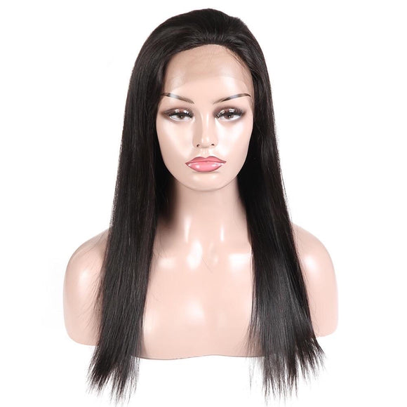Brazilian Silky Straight Full Lace Wig, Glueless Wig 100% Pre-Plucked Full Lace Human Hair Wig