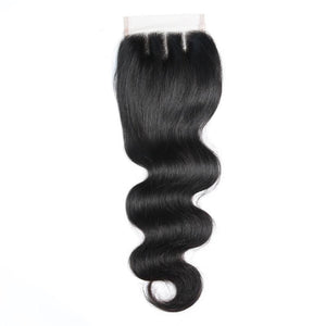 1Pc Brazilian Body Wave Closure Human Hair 4x4 Lace Closure Free/Middle Part