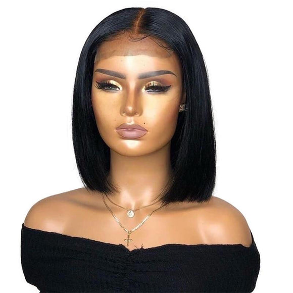 Glueless 13x4 Tansparent HD Lace Frontal Wig Pre Plucked Short Bob Human Hair Lace Front Wig