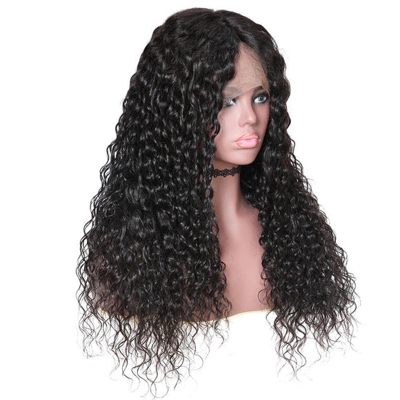 Malaysian Water Wave Hair 360 Lace Front Wigs Half Hand Tied 100% Remy Human Hair Wig Natural Color
