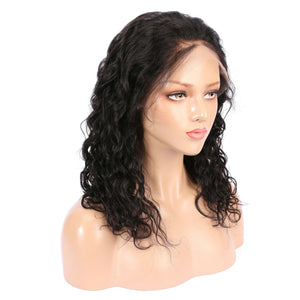 Short Pre Plucked Water Wave Human Hair 360 Lace Frontal Wig With Baby Hair