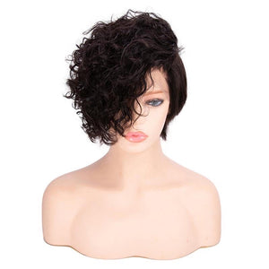 Glueless Malaysian Natural Color Short Hair Full Lace Wig