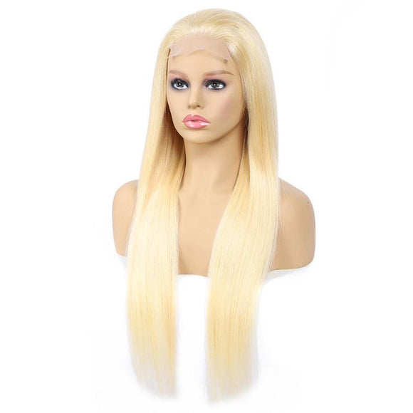 4x4 Blonde 613 Brazilian Hair Blonde Straight Lace Closure Wig 150% Density Human Hair Lace Wig