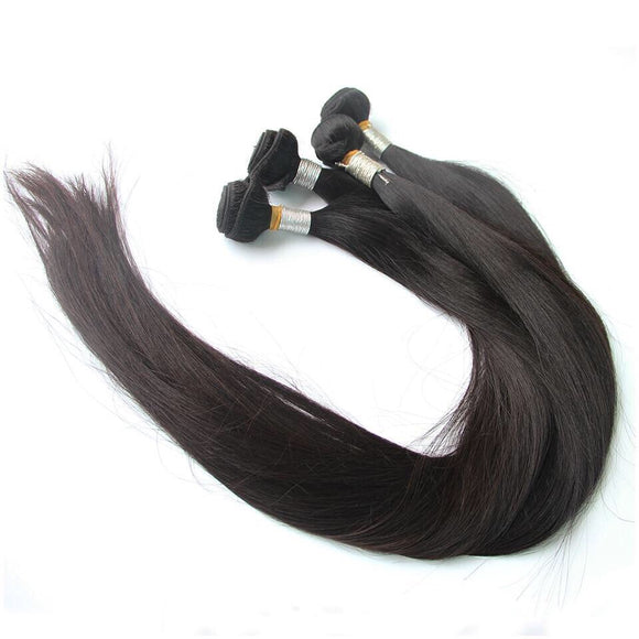 Straight Peruvian Human Hair Weave Bundles Long Remy Hair Extensions 3 4 Pcs Hair Weft