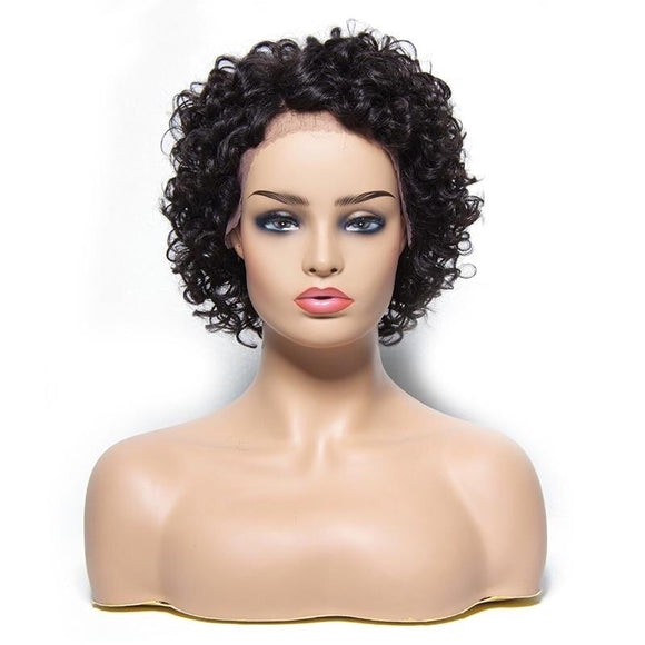 Short Curly Lace Front Human Hair Wig Brazilian Remy Hair Wig Natural Color