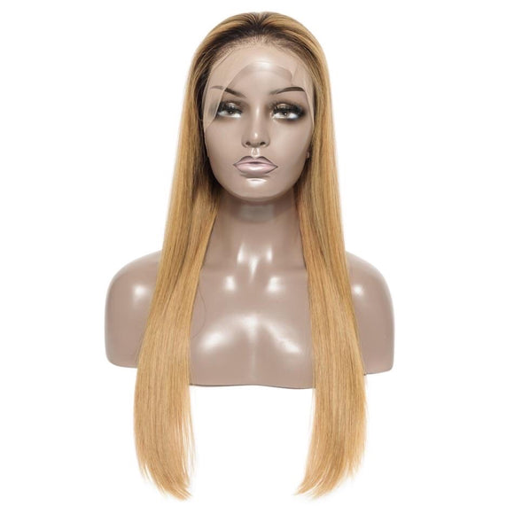 1B/27 Full Lace Wig Brazilian Straight Virgin Human Hair Glueless Lace Wig