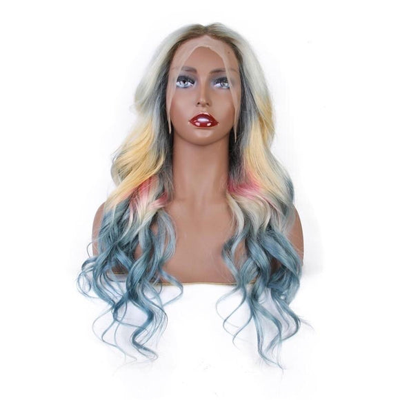 Ombre 613 Front Lace Wig Brazilian Mixed Blue Pink Yellow Blonde Color