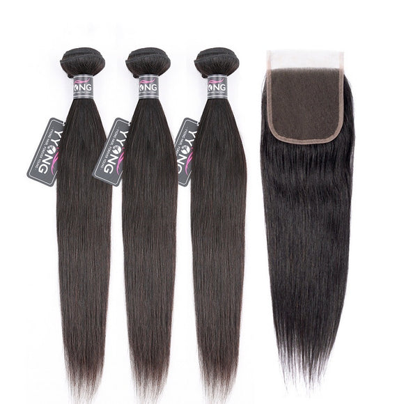 3 Bundles Peruvian Straight Remy Human HairBundles With 4*4 Lace Closure