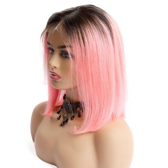 Ombre Pink Bob Lace Wig Short Straight Lace Frontal 150% Density