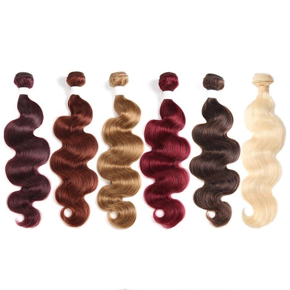 1pc 613 Color Blonde Bundle 99J 27 30 1B Red Burg 33 Body Wave Brazilian Human Remy Hair Weave Extensions