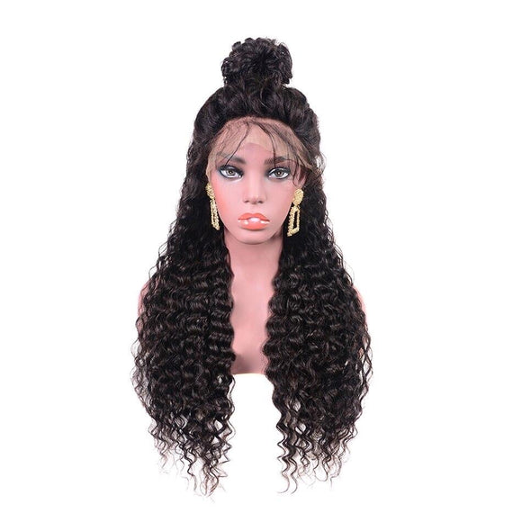 Brazilian Water Wave Hair Pre Plucked 360 Lace Frontal Wig With Baby Hair 180% Density