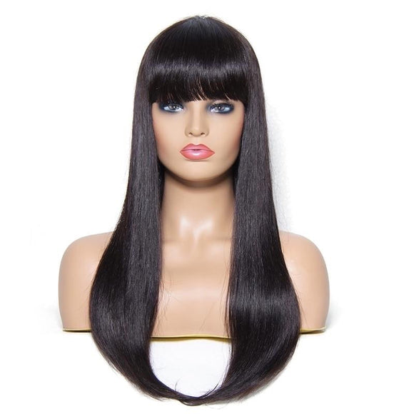 22 Inch Long Brazilian Remy Human Hair Wig With Bang For Women Natural Color #1 #2 #4
