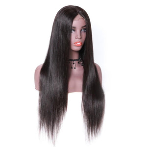 Full Lace Human Hair Wig Straight Brazilian Remy Hair Wig Natural Color