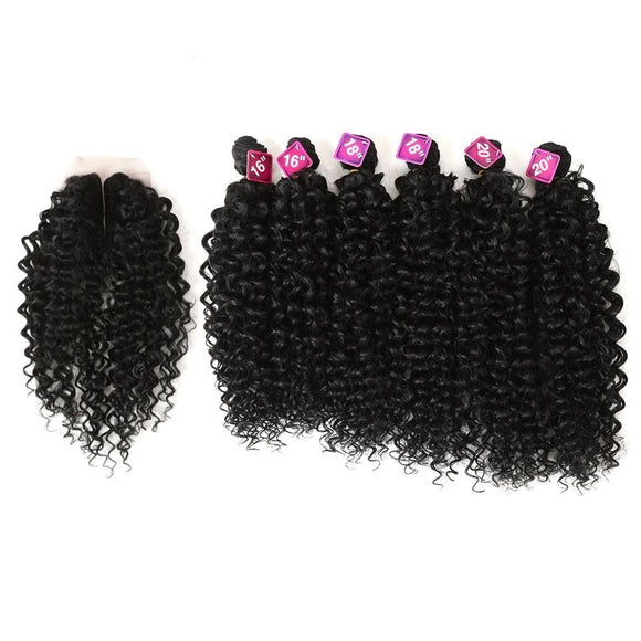 Synthetic Hair Weave 16-20 inch 7Pieces/lot Afro Kinky Curly Hair Bundles With Closure