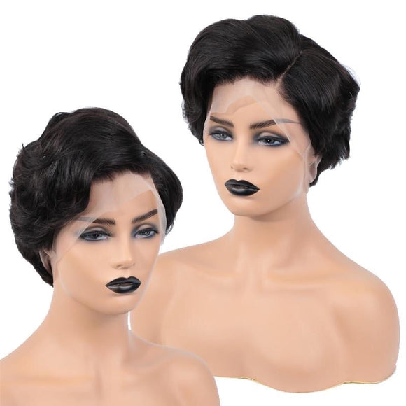 Full Lace Human Hair Wig Swiss Pixie Cut Lace Wig