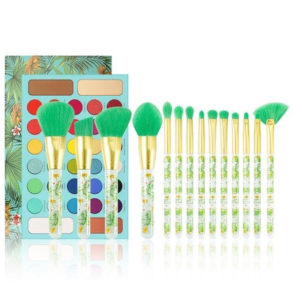Docolor Tropical - 14 Pieces Makeup Brush Set + 34 Color Eyeshadow Palette Collection