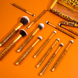 Docolor Leopard - 12 Pieces Makeup Brush Set with Bag