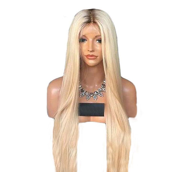 FabWOmbre #4/613 Blonde Full Lace Wig With Baby Hair, Dark Roots