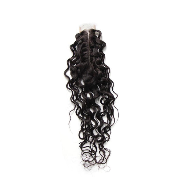 2x6 Human Hair Closure Brazilian Water Wave Natural Color Middle Part Remy Hair