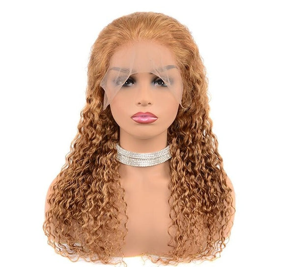 Deep Wave Honey Blonde Human Hair Lace Front Wigs, Color 27