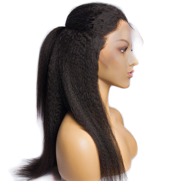 150% Brazilian Kinky Straight Wig With Baby Hair Remy 13x4 Pre Plucked Yaki Lace Front Human Hair Wig