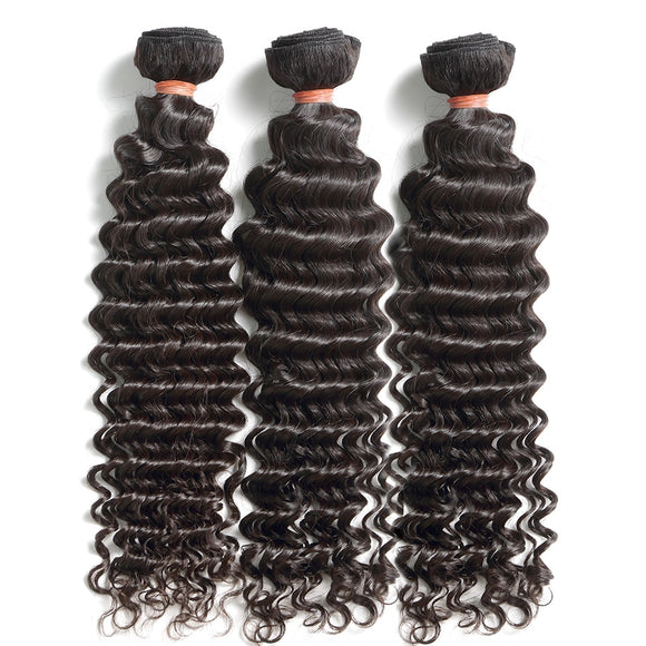 Deep Wave Bundles With Closure Brazilian Remy Curly 100% Human Hair Water Wave