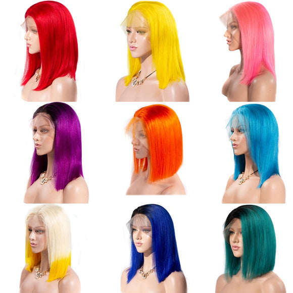 13x6 Short Lace Front Human Hair Wig / Pink Blue Red Green Ombre Human Hair Wig
