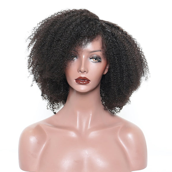 Natural Black Afro Kinky Curly Full Lace Human Hair Wig