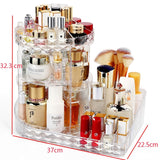 360 Degree Rotation Transparent Acrylic Cosmetics Storage Box Multi-Function Detachable Makeup Beauty Organizer