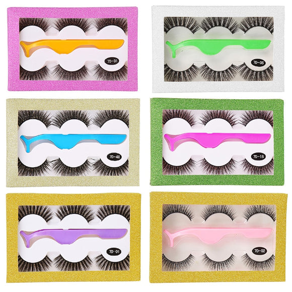 False Eyelashes Natural Long Thick Fake Eye Lashes Extension Makeup Handmade Eyelash Set with Tweezers