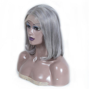 Short Lace Front Wig 1B Grey Remy Hair Straight Bob Wig Pre Plucked Hairline
