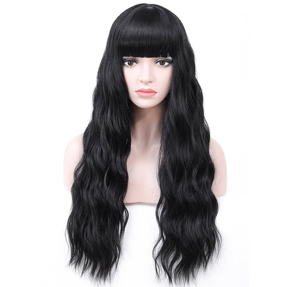 Long Wavy Synthetic Wig With Bangs Heat Resistant