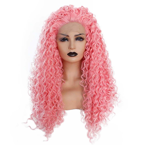 Pink Synthetic Lace Front Wig Glueless Long Kinky Curly Wig Free Parting