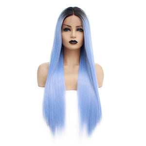 Ombre Blue Lace Front Wig Natural Glueless Synthetic Straight Wig Heat Resistant