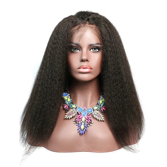 Kinky Straight Lace Front Human Hair Wig Glueless Brazilian Remy Hair Pre Plucked 150% Density