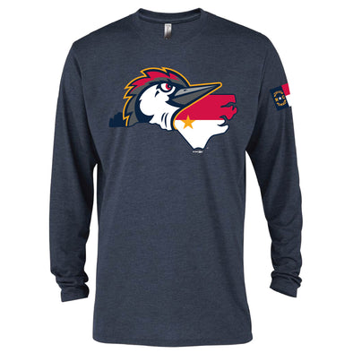 Fayetteville Woodpeckers NC Flag Long Sleeve Navy