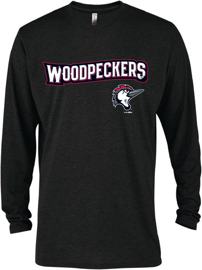 Fayetteville Woodpeckers Combo Logo Long Sleeve Black