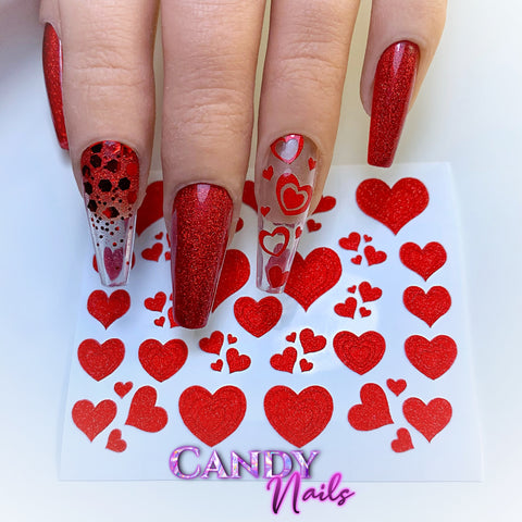 Layered Hearts Red