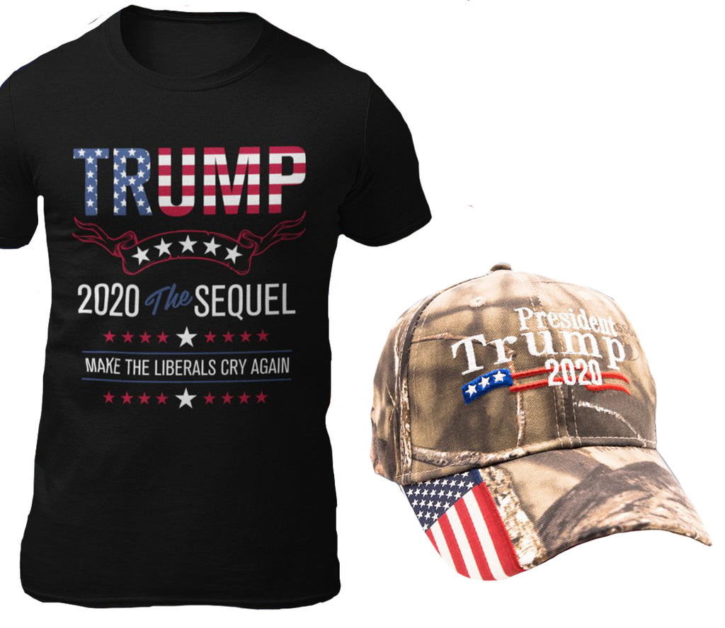 Trump 2020 Sequel Cotton T-Shirt + Trump 2020 Hat Combo