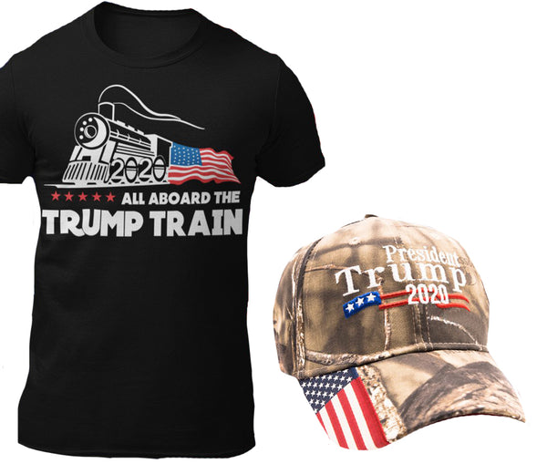 Trump Train Cotton T-Shirt + Trump 2020 Hat Combo