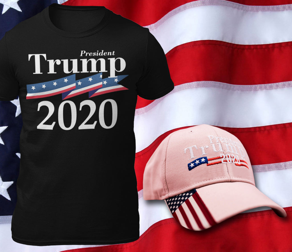 Trump 2020 Cotton T-Shirt + Trump 2020 Hat Combo