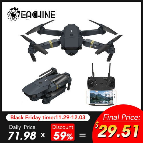 Eachine E58 WIFI FPV With True 720P/1080P Wide Angle HD Camera High Hold Mode Foldable Arm RC Drone Quadcopter RTF VS S9HW M69
