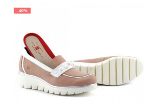 SALE! Leather Moccasin with Pearl Adornment (Rose)