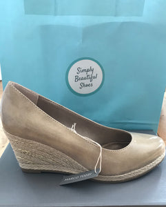 Beautiful Nude Slip On Wedge by Marco Tozzi